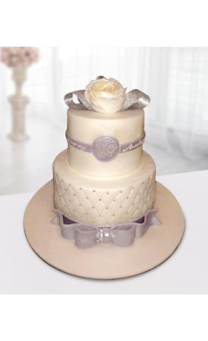 White and Silver Anniversary Cake